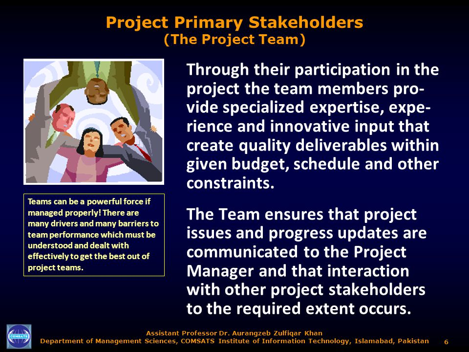 Project Primary Stakeholders (The Project Team)