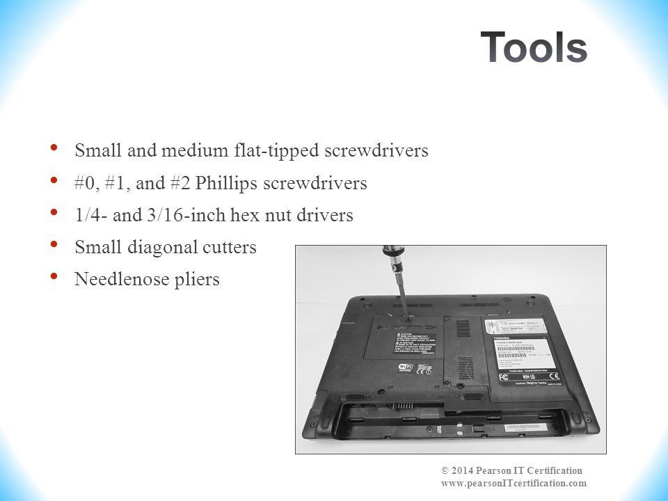 Tools Small and medium flat-tipped screwdrivers