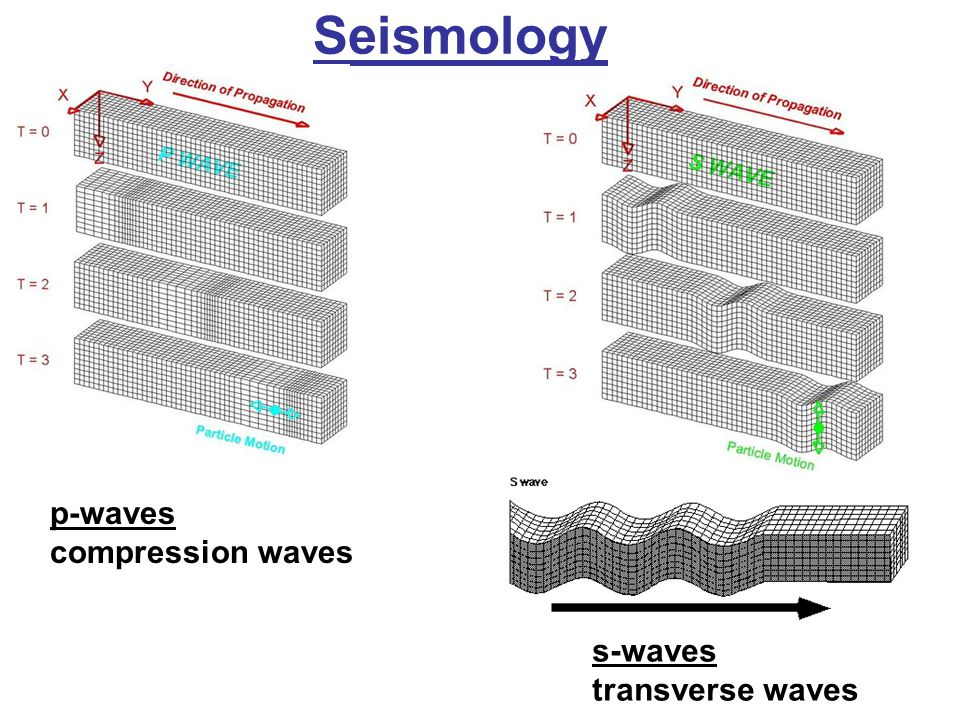 Seismology p-waves compression waves s-waves transverse waves