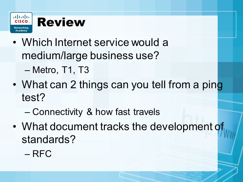 Review Which Internet service would a medium/large business use