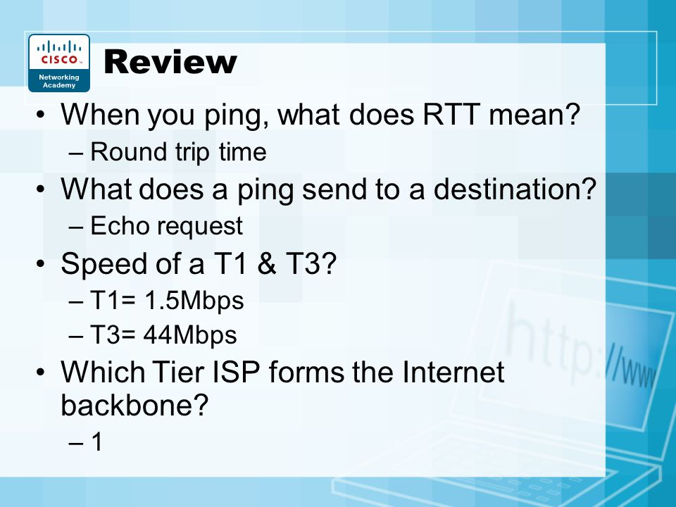 Review When you ping, what does RTT mean