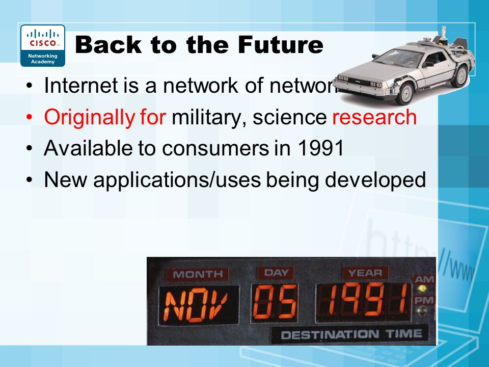 Back to the Future Internet is a network of networks
