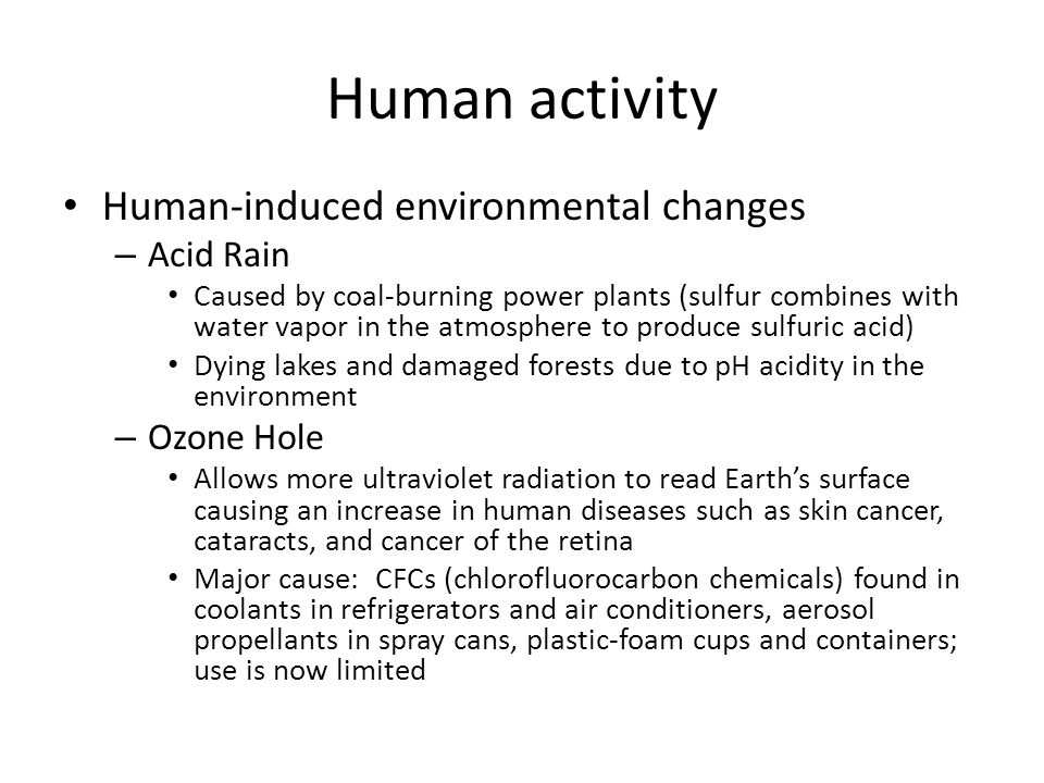 Human activity Human-induced environmental changes Acid Rain