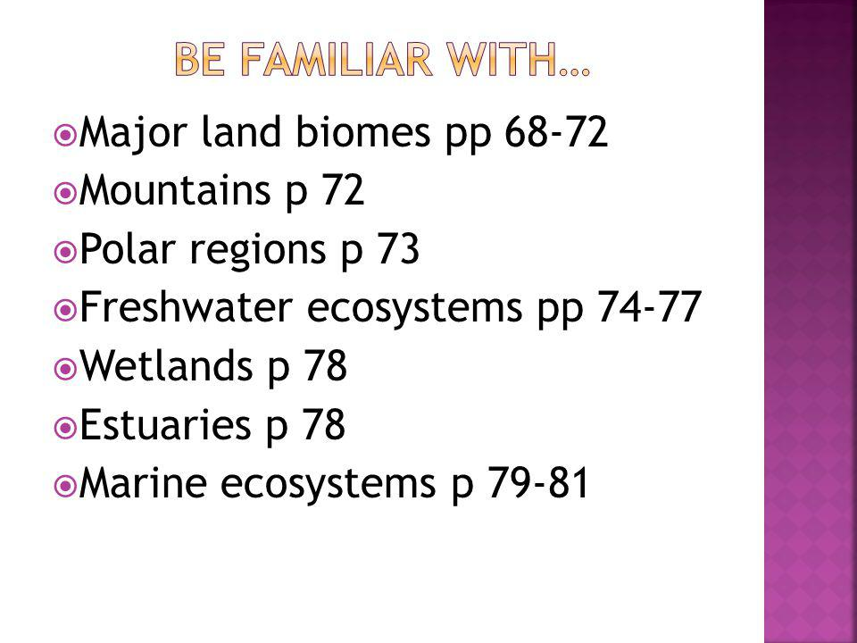 Be familiar with… Major land biomes pp 68-72 Mountains p 72