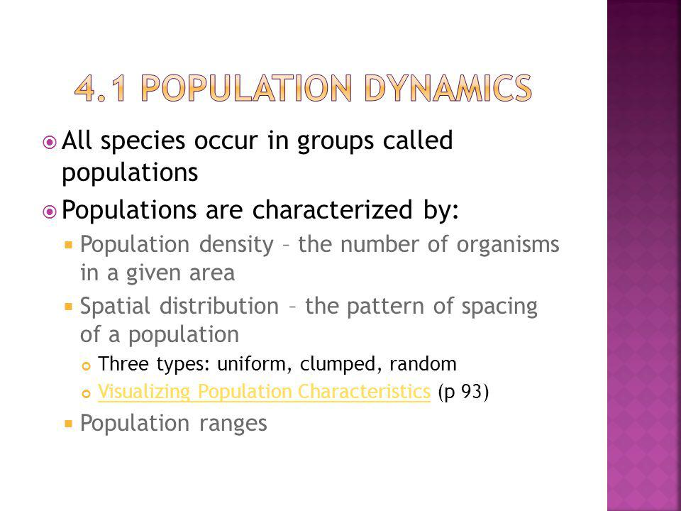 4.1 Population dynamics All species occur in groups called populations