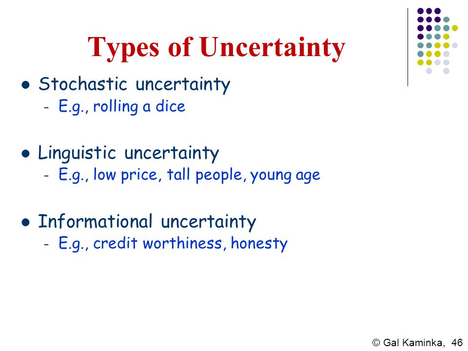 Types of Uncertainty Stochastic uncertainty Linguistic uncertainty