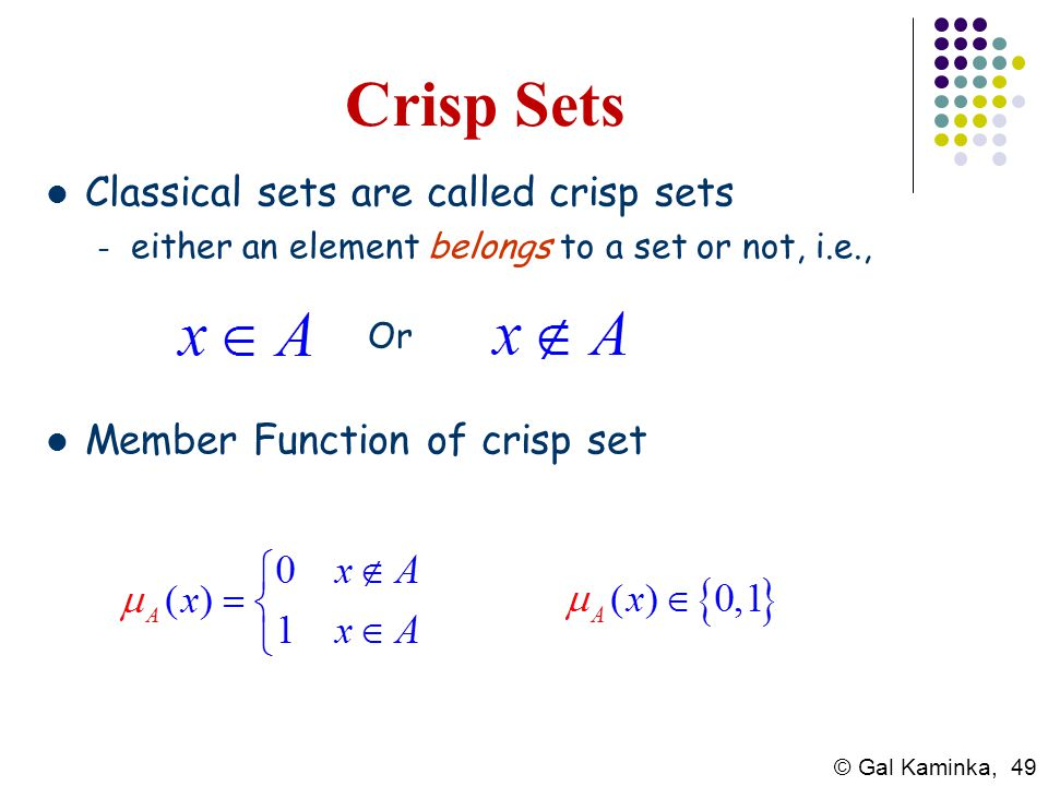 Crisp Sets Classical sets are called crisp sets