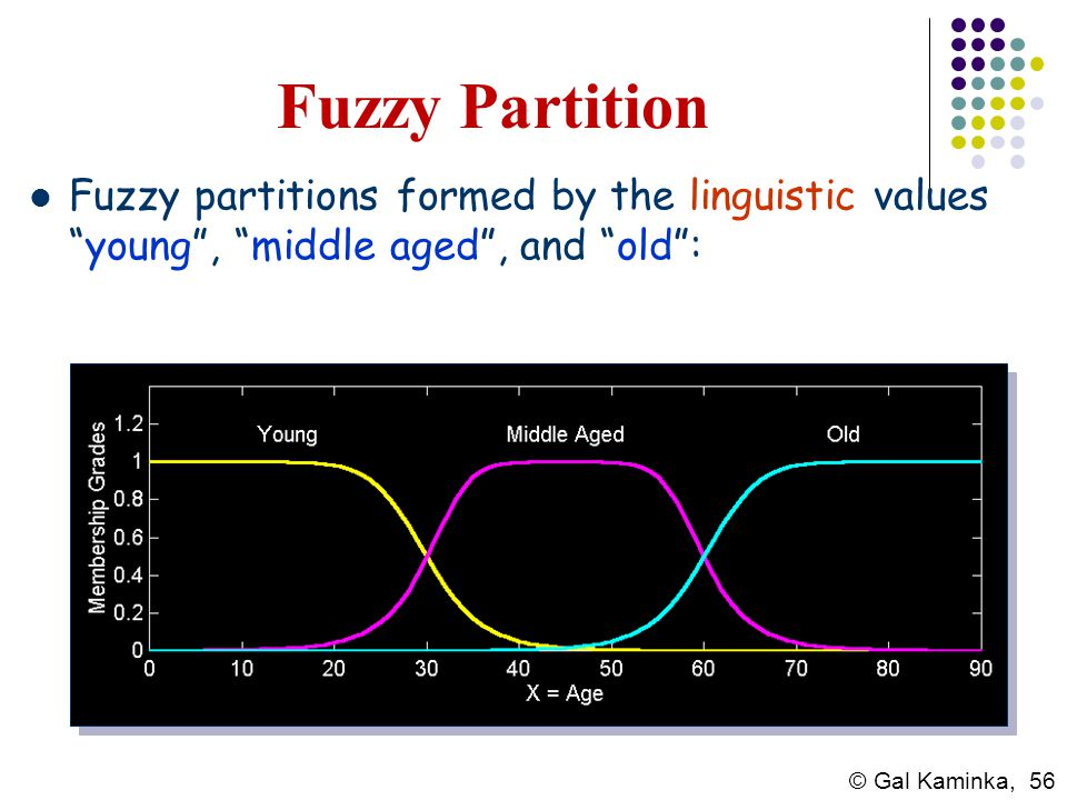 Fuzzy Partition Fuzzy partitions formed by the linguistic values young , middle aged , and old :
