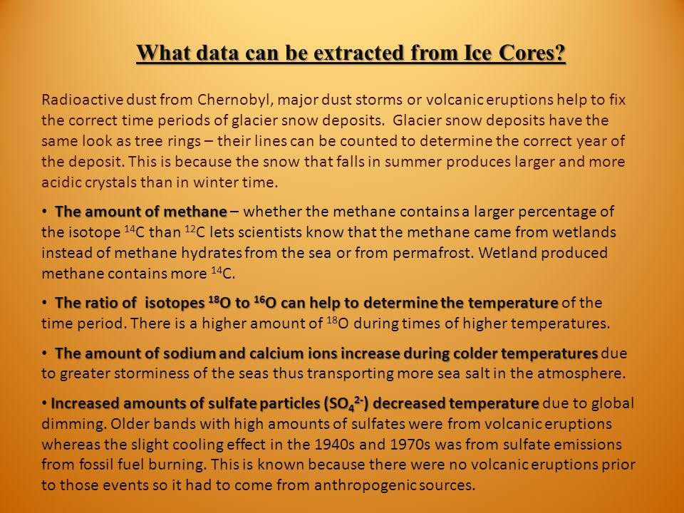 What data can be extracted from Ice Cores
