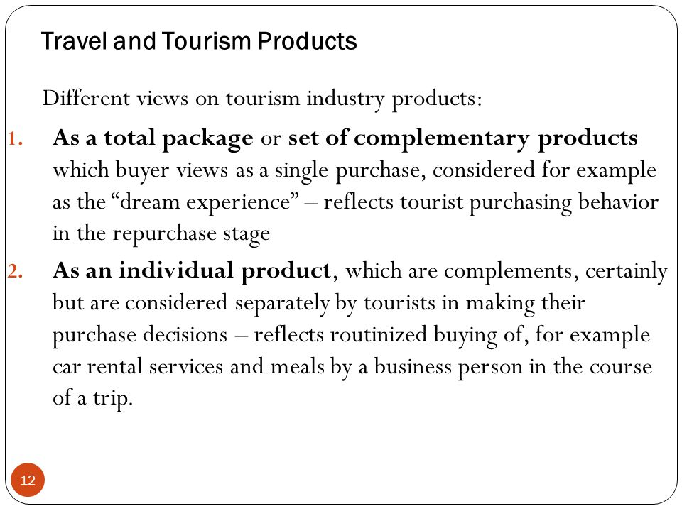 Travel and Tourism Products