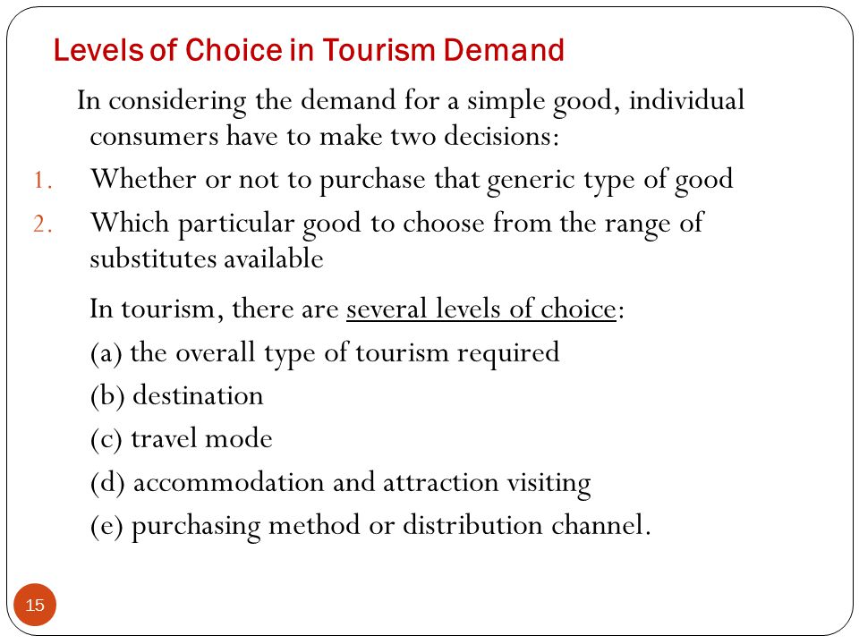 Levels of Choice in Tourism Demand