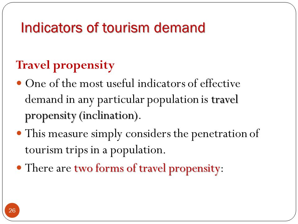 Indicators of tourism demand