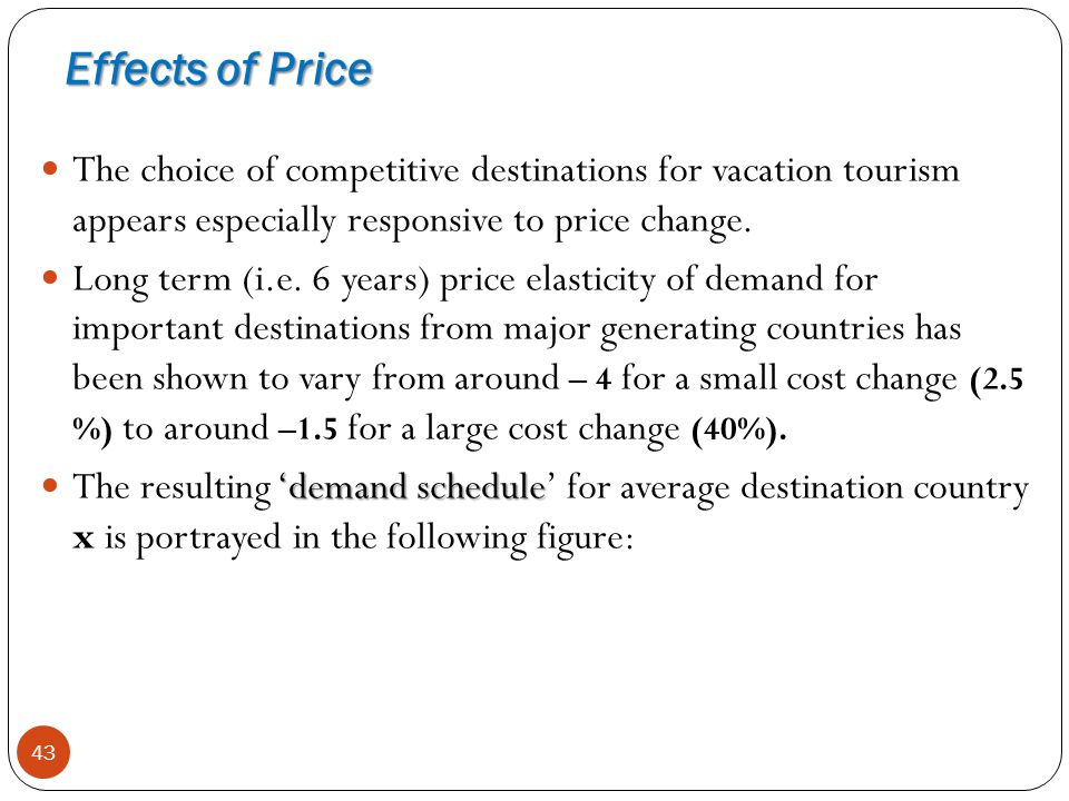 Effects of Price The choice of competitive destinations for vacation tourism appears especially responsive to price change.