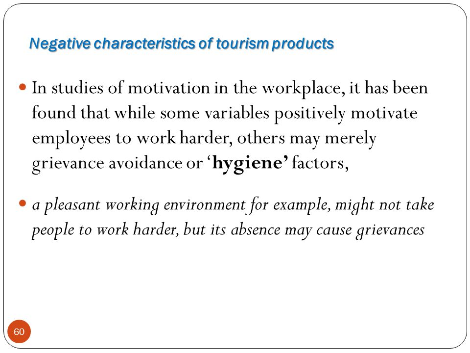 Negative characteristics of tourism products