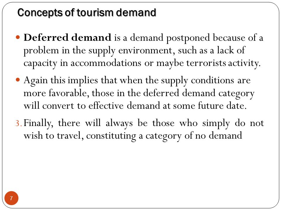 Concepts of tourism demand