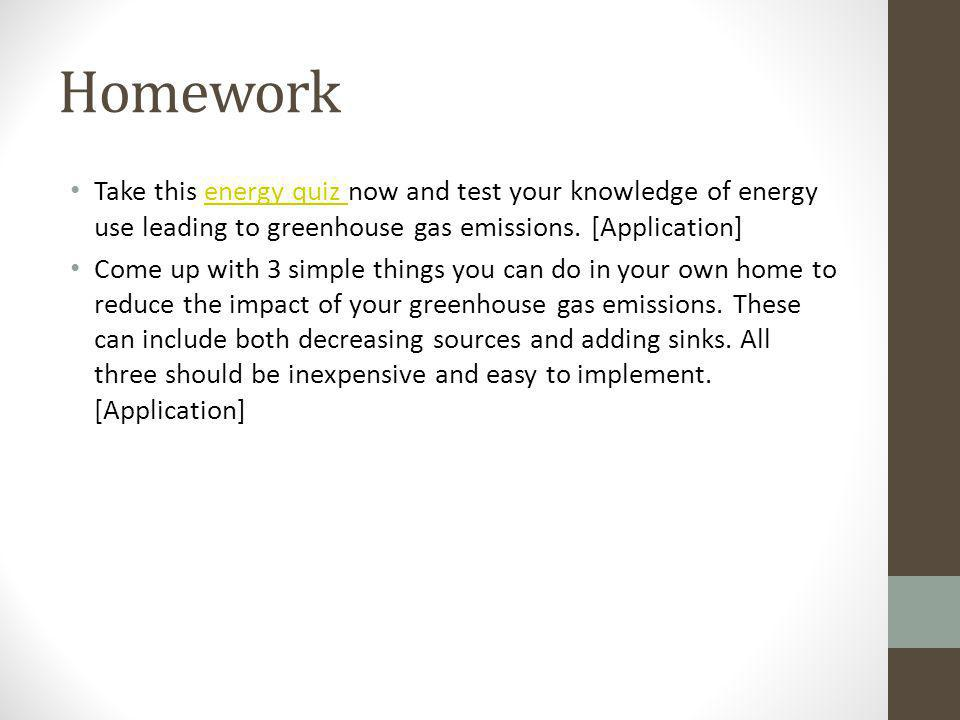Homework Take this energy quiz now and test your knowledge of energy use leading to greenhouse gas emissions. [Application]