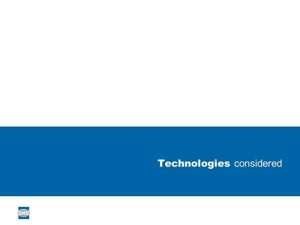 Technologies considered