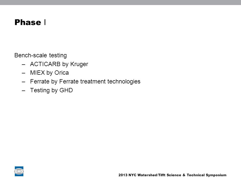 Phase I Bench-scale testing ACTICARB by Kruger MIEX by Orica