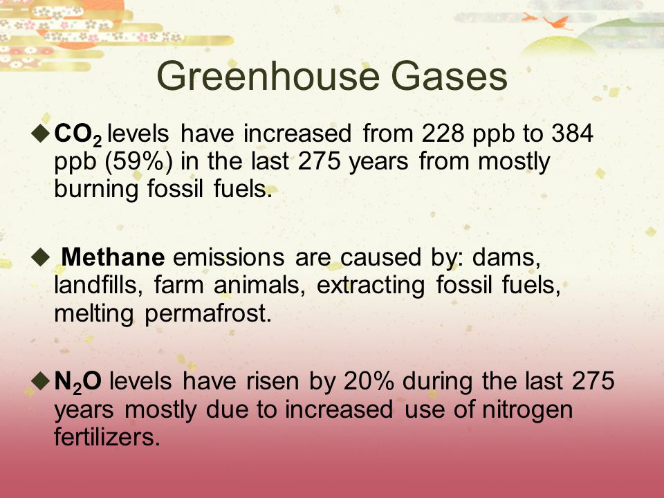 Greenhouse Gases CO2 levels have increased from 228 ppb to 384 ppb (59%) in the last 275 years from mostly burning fossil fuels.