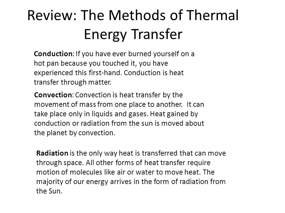 Review: The Methods of Thermal Energy Transfer