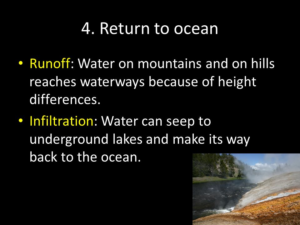 4. Return to ocean Runoff: Water on mountains and on hills reaches waterways because of height differences.