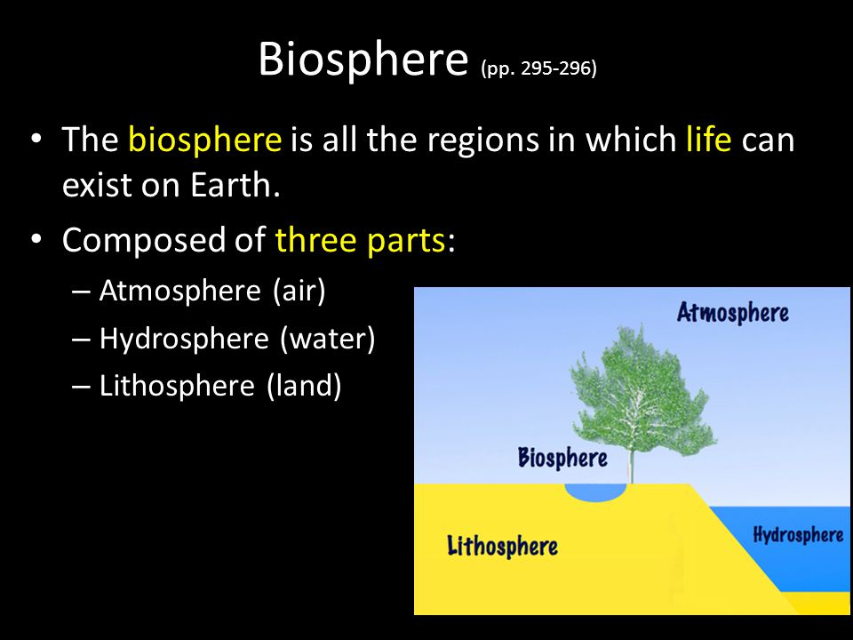 Biosphere (pp. 295-296) The biosphere is all the regions in which life can exist on Earth. Composed of three parts: