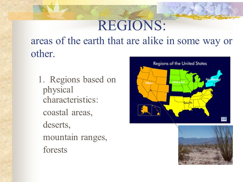 REGIONS: areas of the earth that are alike in some way or other.