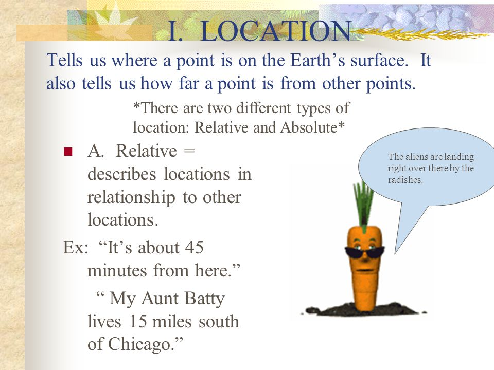 I. LOCATION Tells us where a point is on the Earth's surface