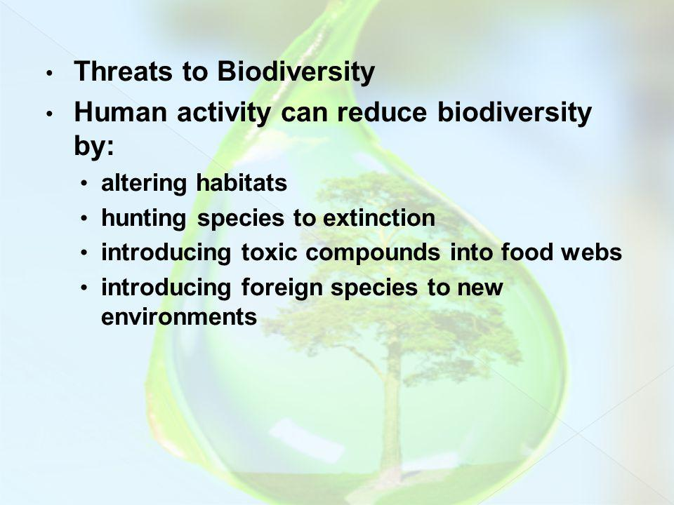Threats to Biodiversity Human activity can reduce biodiversity by: