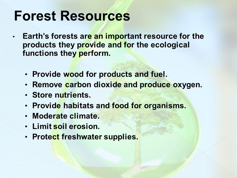 Forest Resources Earth's forests are an important resource for the products they provide and for the ecological functions they perform.