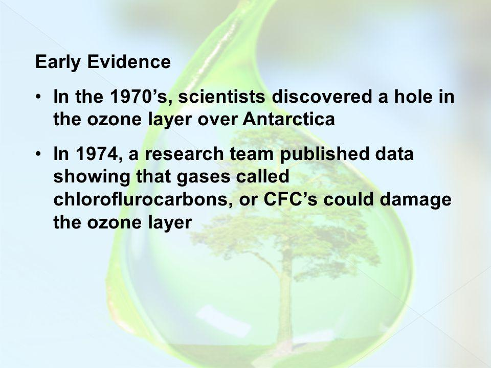 Early Evidence In the 1970's, scientists discovered a hole in the ozone layer over Antarctica.