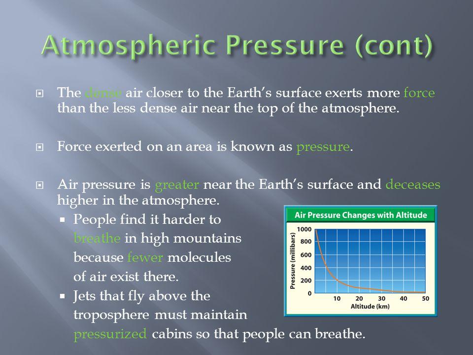 Atmospheric Pressure (cont)