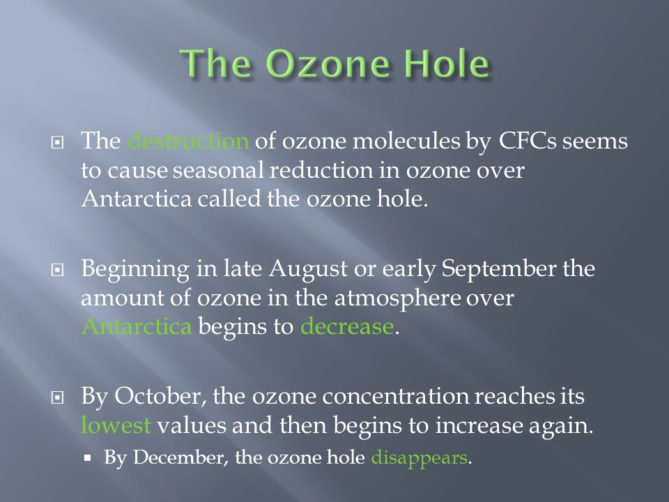 The Ozone Hole The destruction of ozone molecules by CFCs seems to cause seasonal reduction in ozone over Antarctica called the ozone hole.