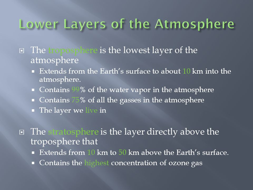 Lower Layers of the Atmosphere