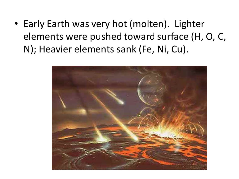 Early Earth was very hot (molten)