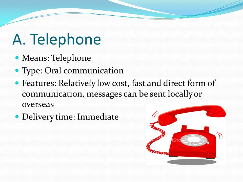 A. Telephone Means: Telephone Type: Oral communication