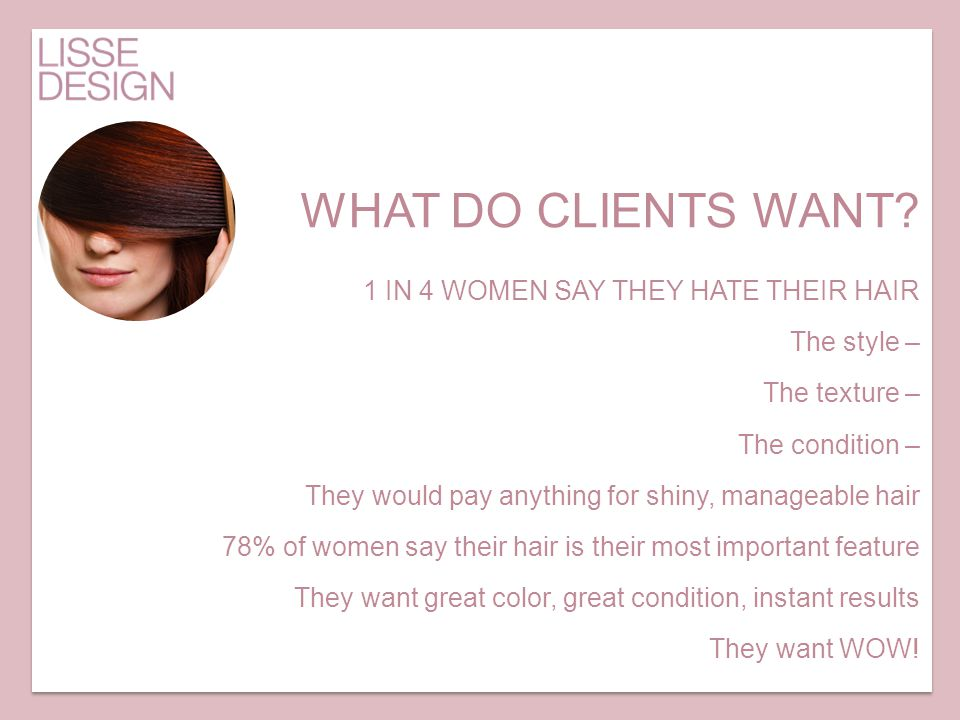 WHAT DO CLIENTS WANT 1 IN 4 WOMEN SAY THEY HATE THEIR HAIR
