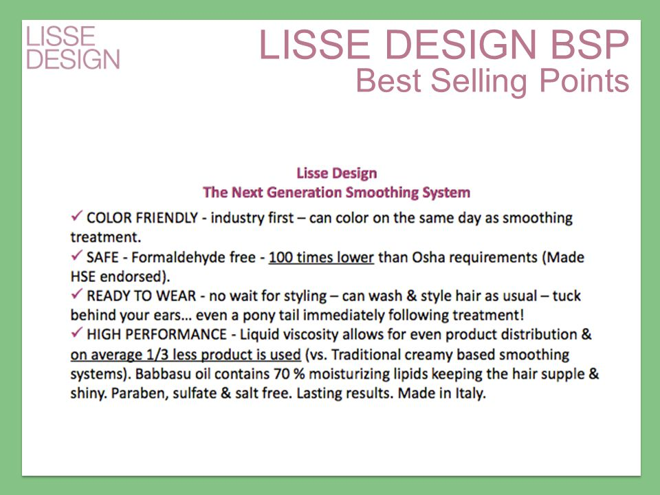 LISSE DESIGN BSP Best Selling Points