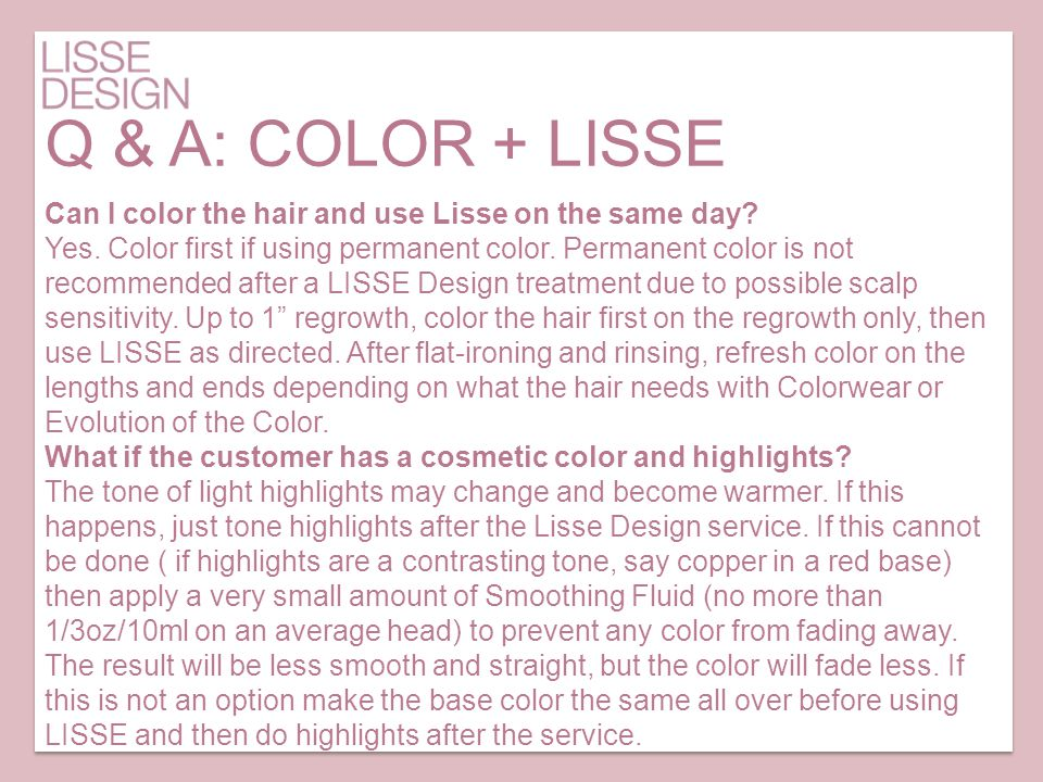 Q & A: COLOR + LISSE Can I color the hair and use Lisse on the same day