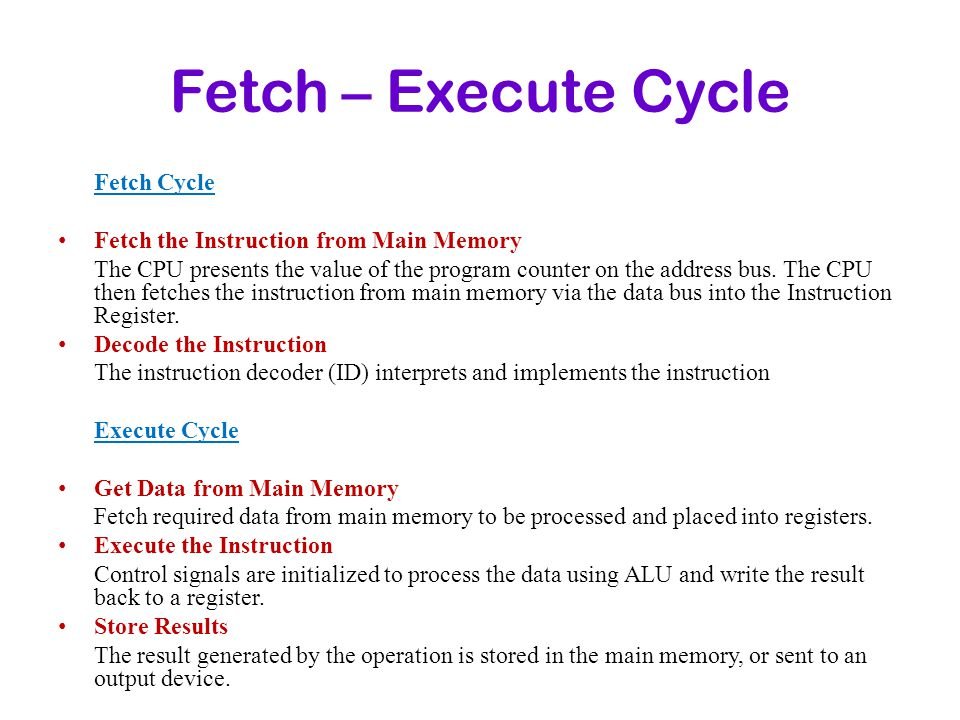 Fetch – Execute Cycle Fetch Cycle