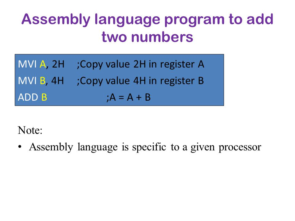 Assembly language program to add two numbers