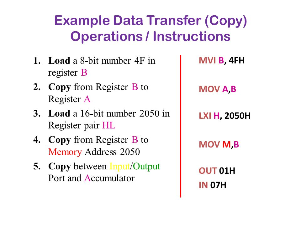 Example Data Transfer (Copy) Operations / Instructions
