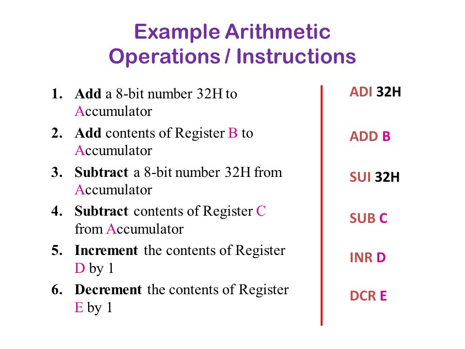 Example Arithmetic Operations / Instructions