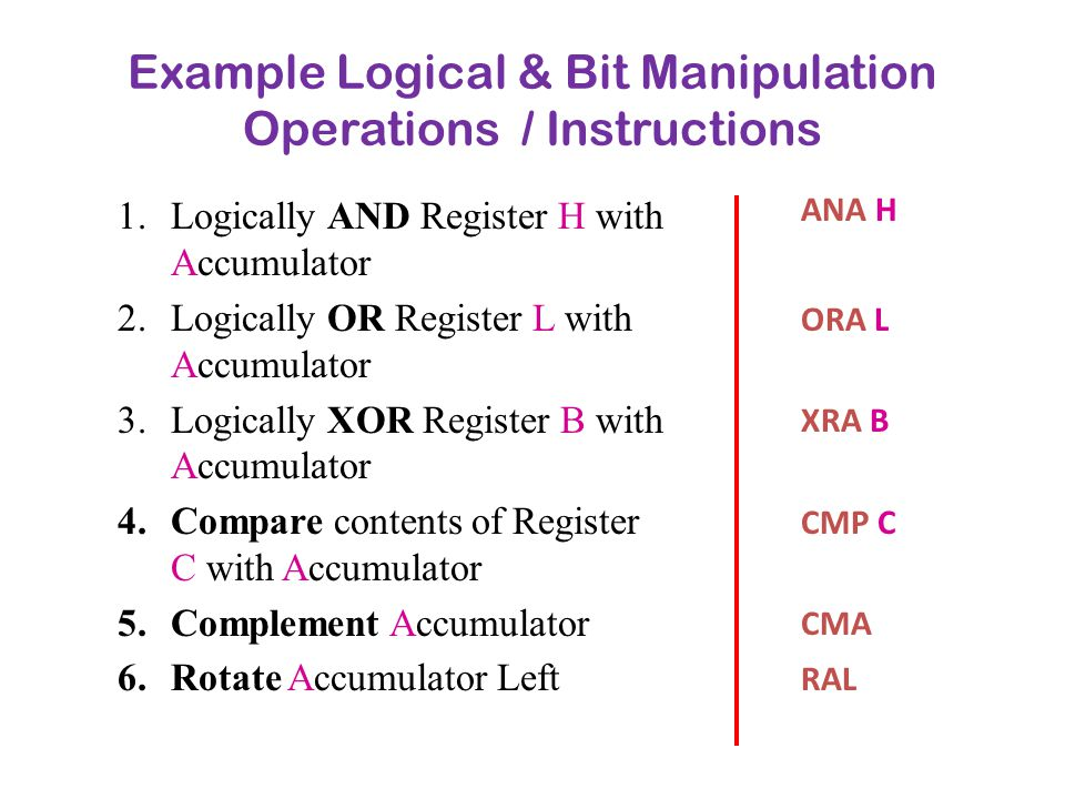 Example Logical & Bit Manipulation Operations / Instructions