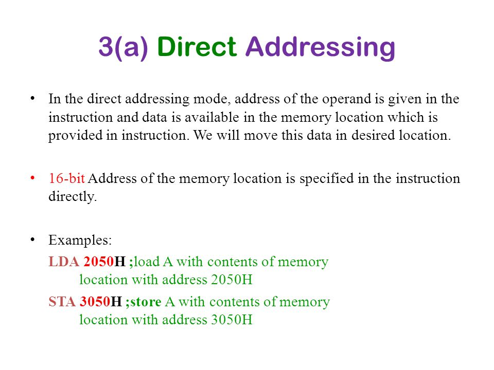 3(a) Direct Addressing