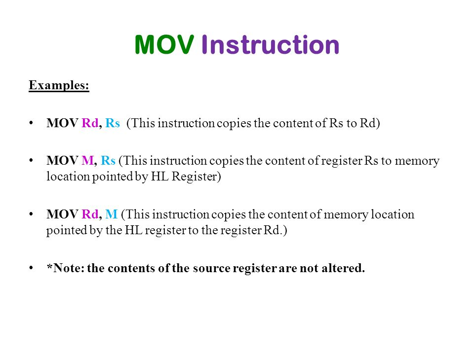 MOV Instruction Examples: