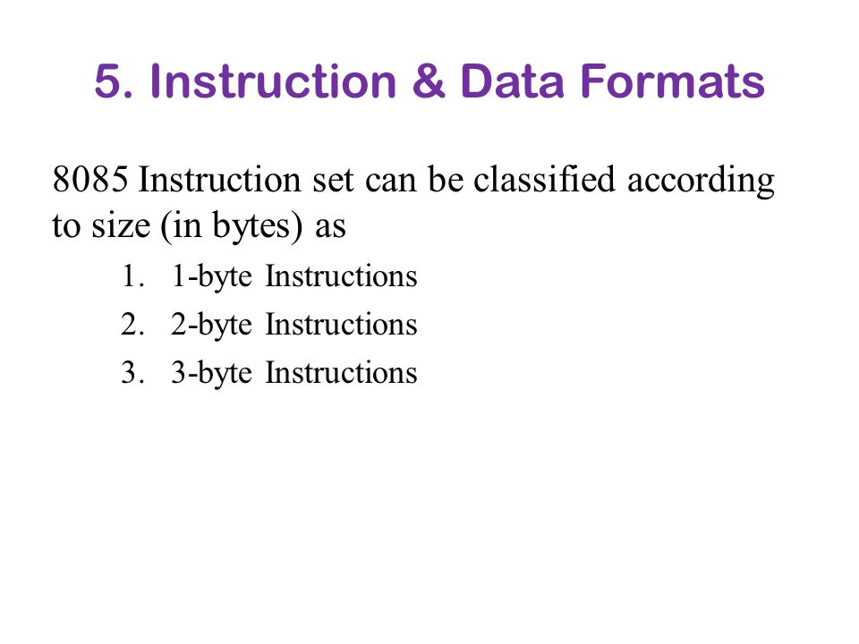 5. Instruction & Data Formats