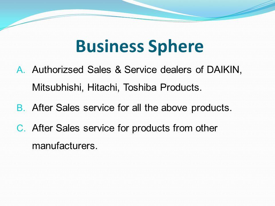 Business Sphere Authorizsed Sales & Service dealers of DAIKIN, Mitsubhishi, Hitachi, Toshiba Products.