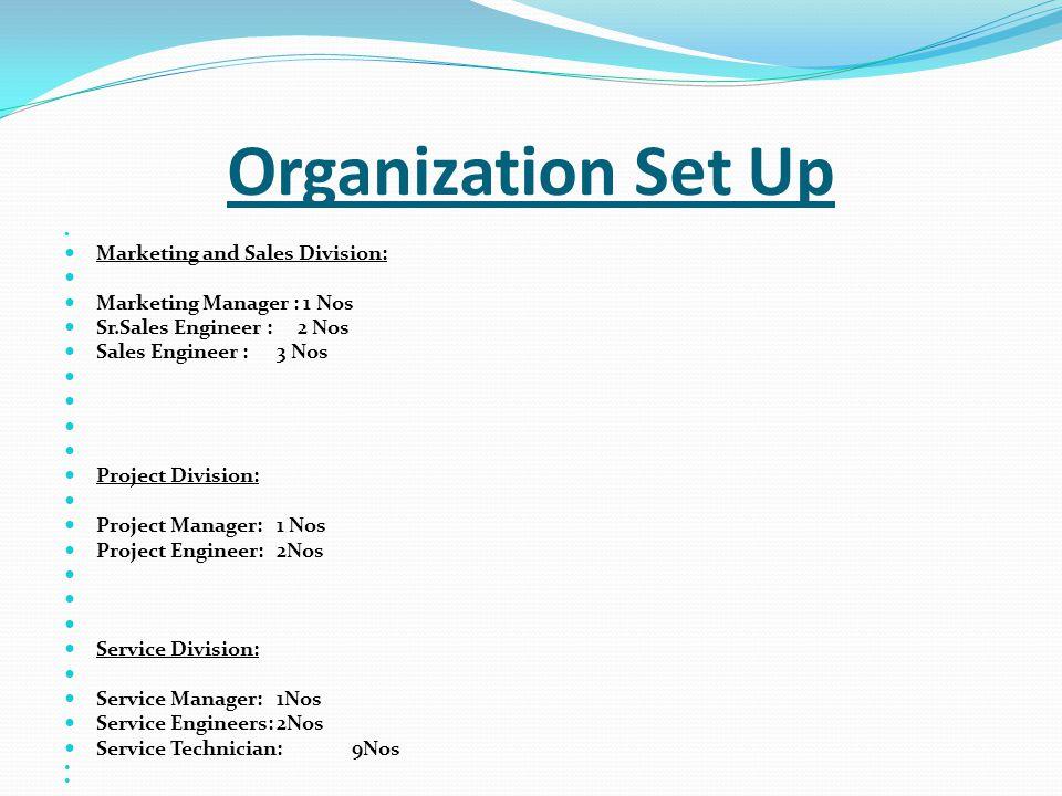 Organization Set Up Marketing and Sales Division: