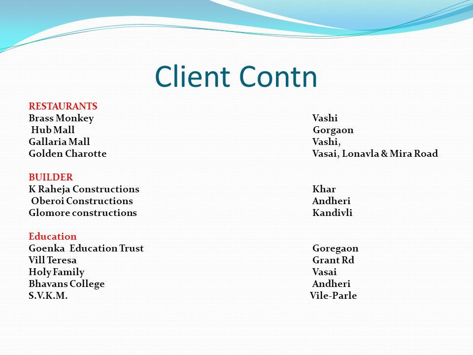 Client Contn RESTAURANTS Brass Monkey Vashi Hub Mall Gorgaon